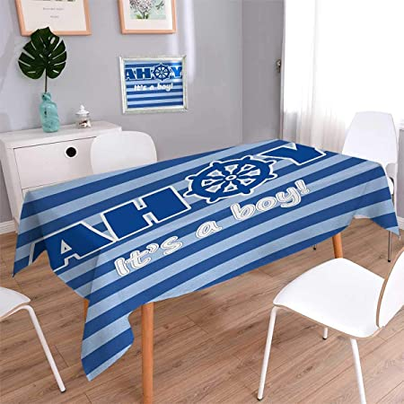 Ahoy Its A Boy Square Washable Tablecloth Baby Shower New Birth