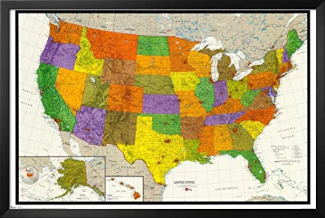 Amazon Com U S Map Framed Poster 34 X 22in Framed Map Of Us