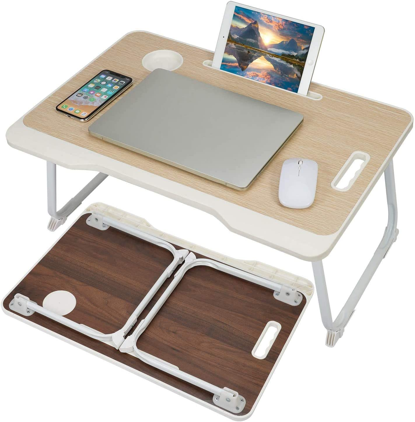 Laptop Bed Table, Foldable Lap Desk with Slot, Coffee Tea Table Breakfast Serving Tray with Cup Holder, Laptop Stand Reading Holder for Working, Folding Bed Desk for Bed/Sofa/Couch/Floor