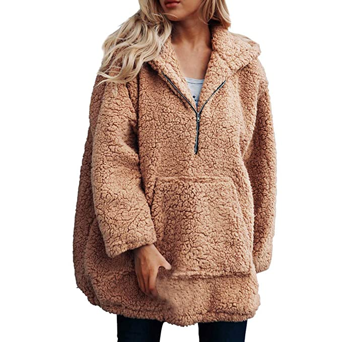 Amazon.com: Clearance Women Tops Coats Jackets LuluZanm Womens Warm Artificial Wool Coat Hooded Zipper Sweatshirt Winter Parka Outerwear: Clothing