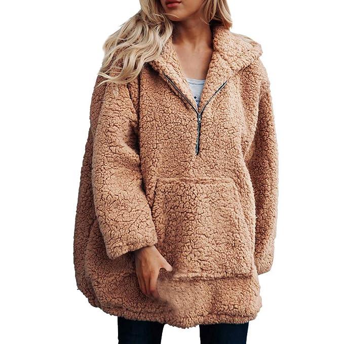 Btruely Herren Chaqueta Suéter para Mujer, Abrigo de Lana Abrigo Jersey Mujer Invierno Talla Grande Hoodie Sudadera con Capucha Mujer Caliente y Esponjoso ...