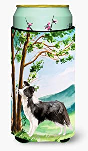 Caroline's Treasures CK2025TBC Under the Tree Border Collie Tall Boy Beverage Insulator Hugger, Tall Boy, multicolor