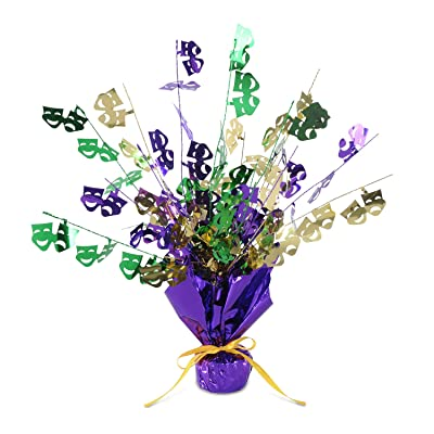 Mardi Gras Gleam 'N Burst Centerpiece Party Accessory (1 count) (1/Pkg): Kitchen & Dining