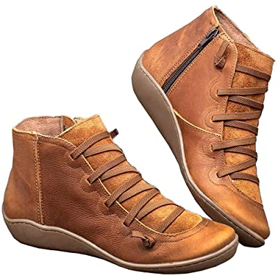 Women's Arch Support Boots Casual Lace up Ankle Booties Retro Female Round Toe Flat Heel Short Boot | Ankle & Bootie