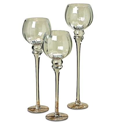 Whole House Worlds The Spectacular Cape Cod Long Stem Candle Holders, Set  of 3, Crystal Clear Ribbed Glass, Each Over 1 Ft Tall, (19, 16 1/2 and 15