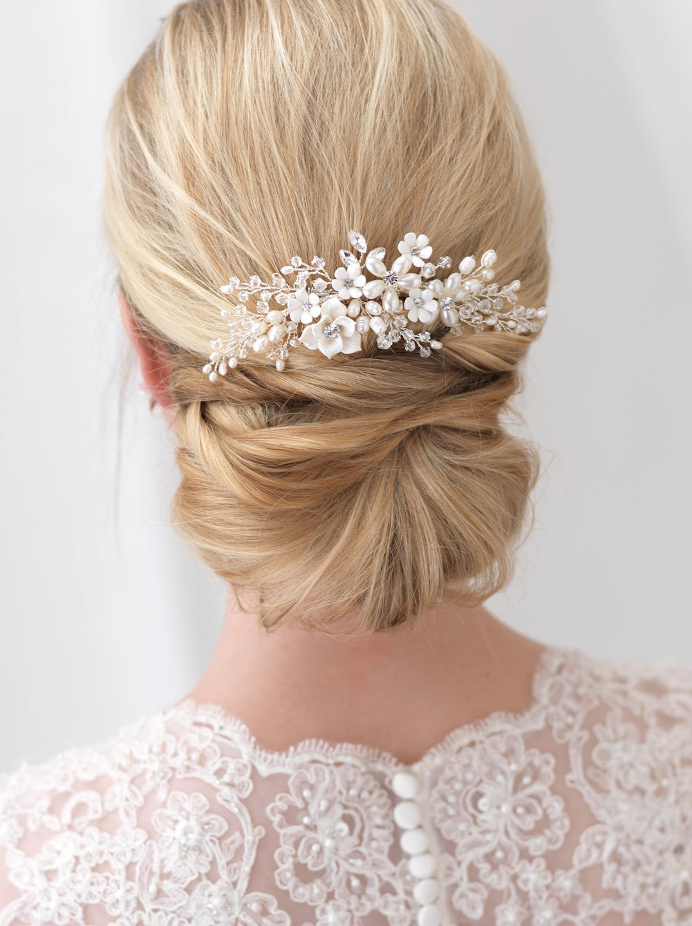 USABride Wedding Comb Silver-Plated Floral Bridal Headpiece Simulated Freshwater Pearls Crystals Rhinestones TC-2291