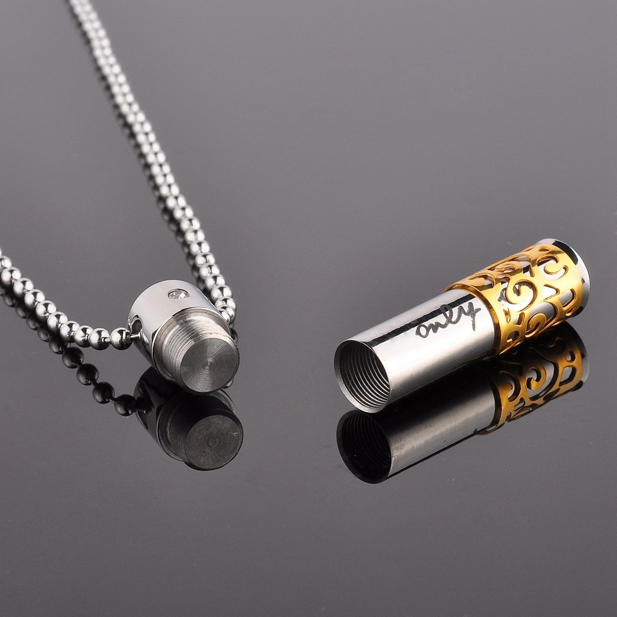 Only Love Memorial Cremation Stainless Urn  Necklace Pendant Steel