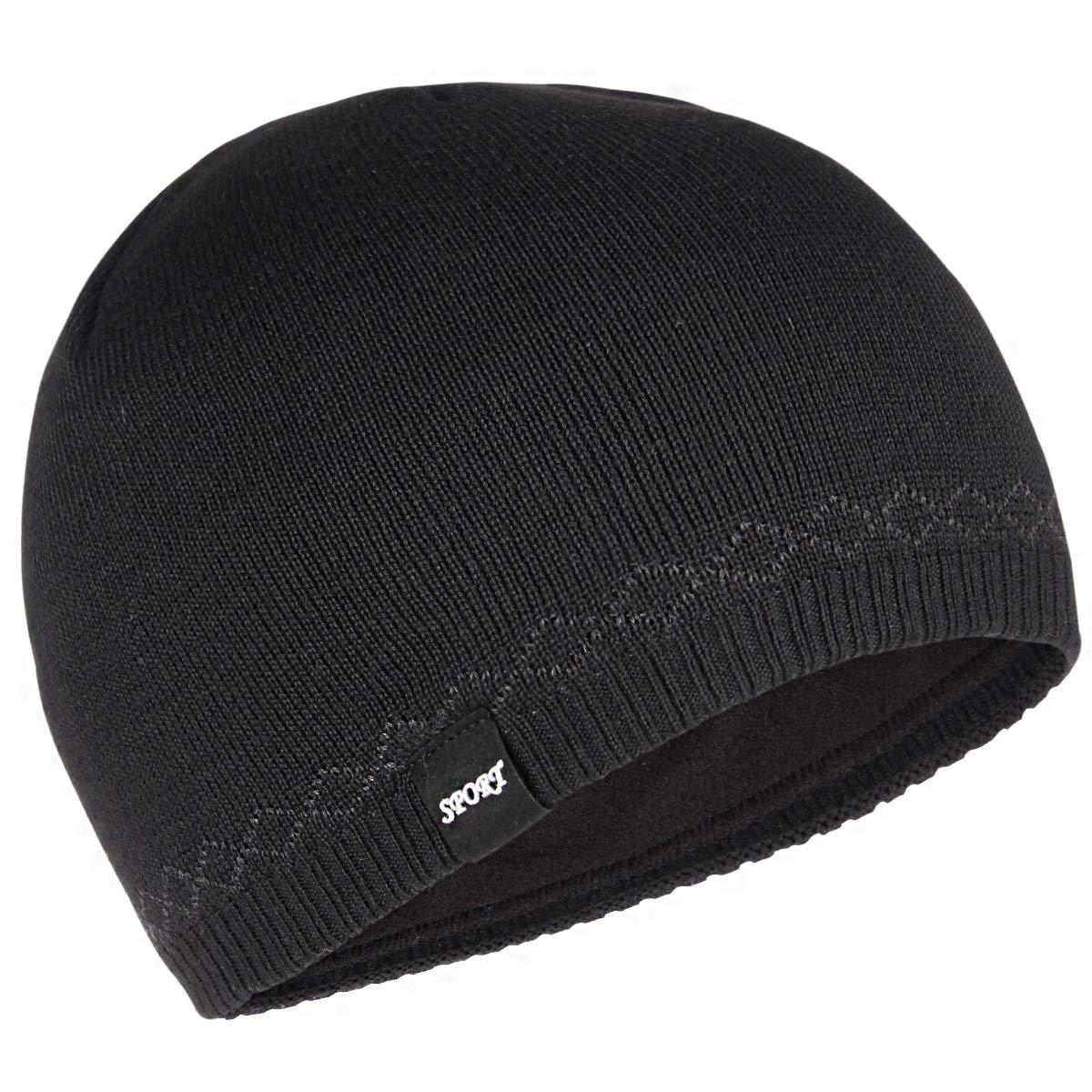 OMECHY Winter Warm Soft Lined Stretchy Beanie Hat Cuffed Plain Skull Cap Toboggan Thick Knit Hat Black