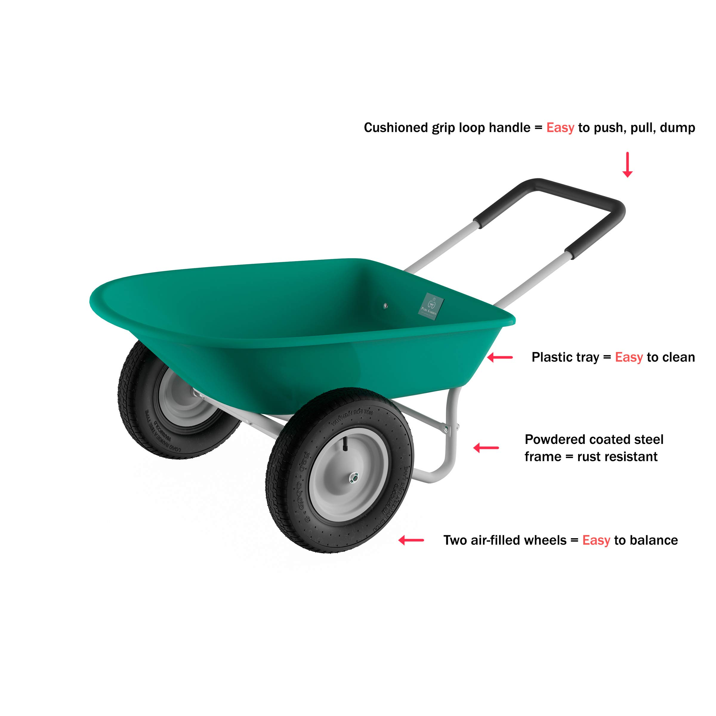 Pure Garden (PURNC) 50-LG1079 Pure 2-Wheeled Garden Wheelbarrow – Large Capacity Rolling Utility Dump Cart for Residential DIY Landscaping, Lawn Care and Remodeling by Pure Garden (PURNC) (Image #4)