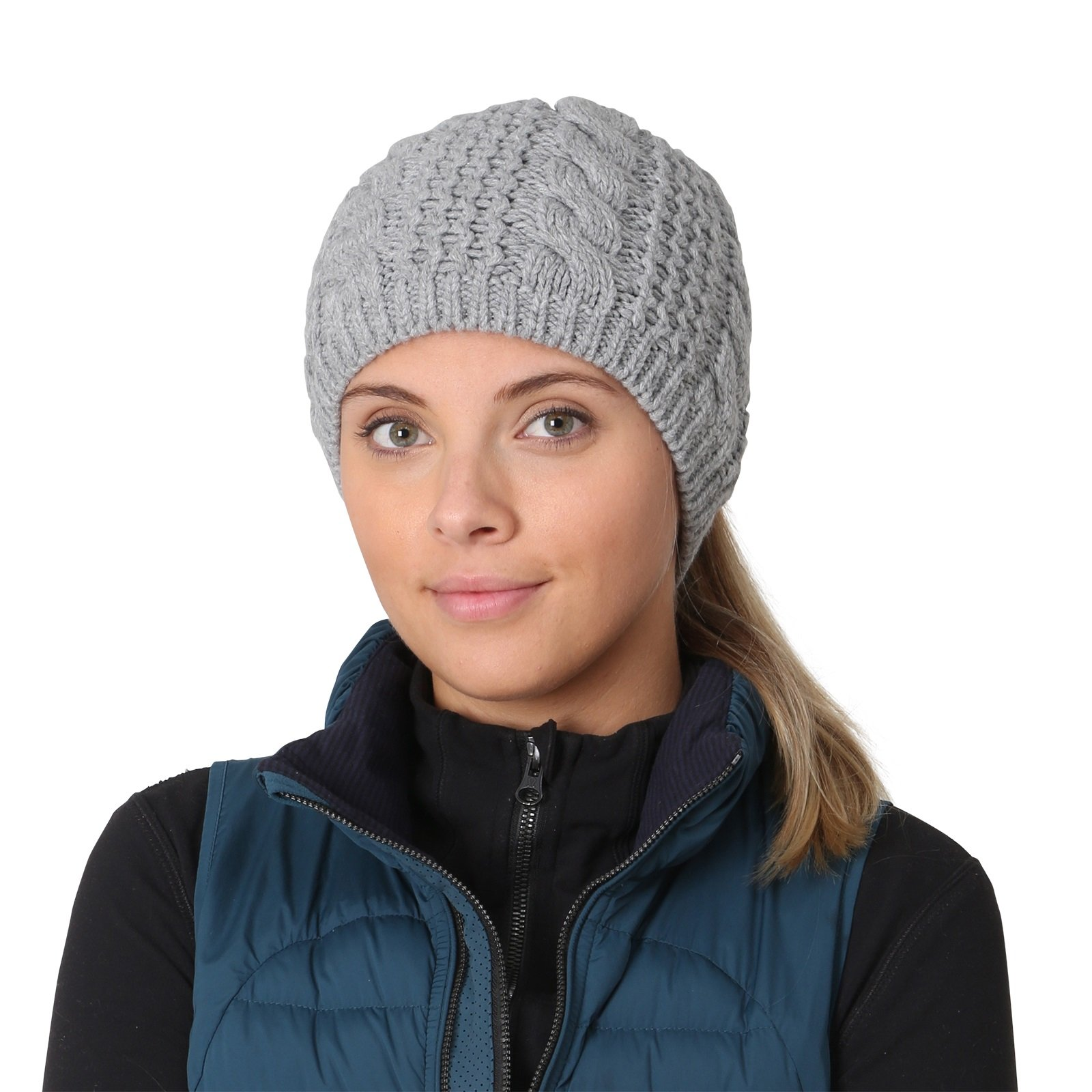 TrailHeads Women's Cable Knit Ponytail Beanie - storm grey by TrailHeads (Image #7)