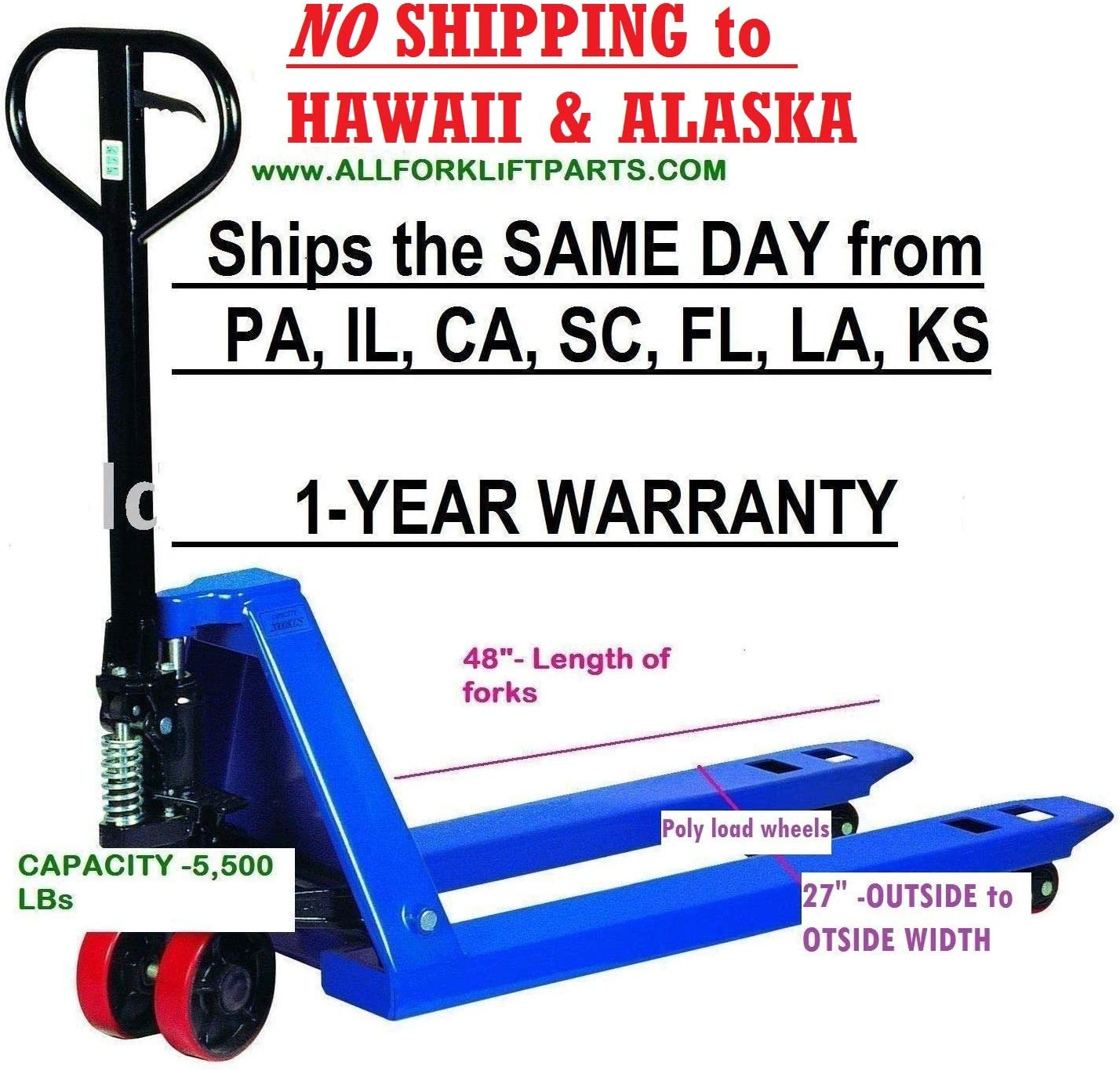 Crown Pallet Jack PTH50-27-48 Hand Truck 5000lb Capacity Good Working Condition