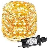 LE Stringa luminosa 10m, 100 LED in Rame Impermeabile IP65 Flessibile Luce Bianca Calda per Decorazione Feste Natale Casa