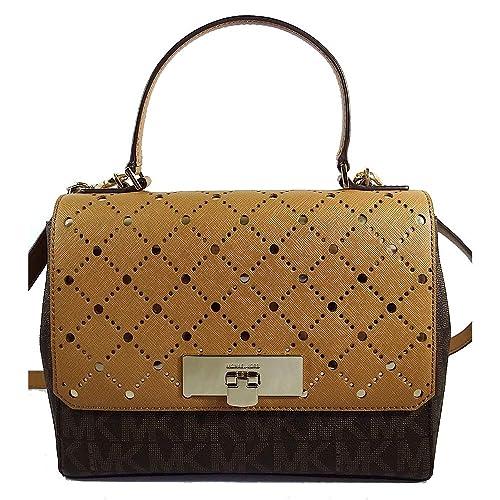 04b2d66f1d67 MICHAEL KORS MK MONOGRAM VIOLET CALLIE SATCHEL CROSSBODY HANDBAG:  Amazon.ca: Shoes & Handbags