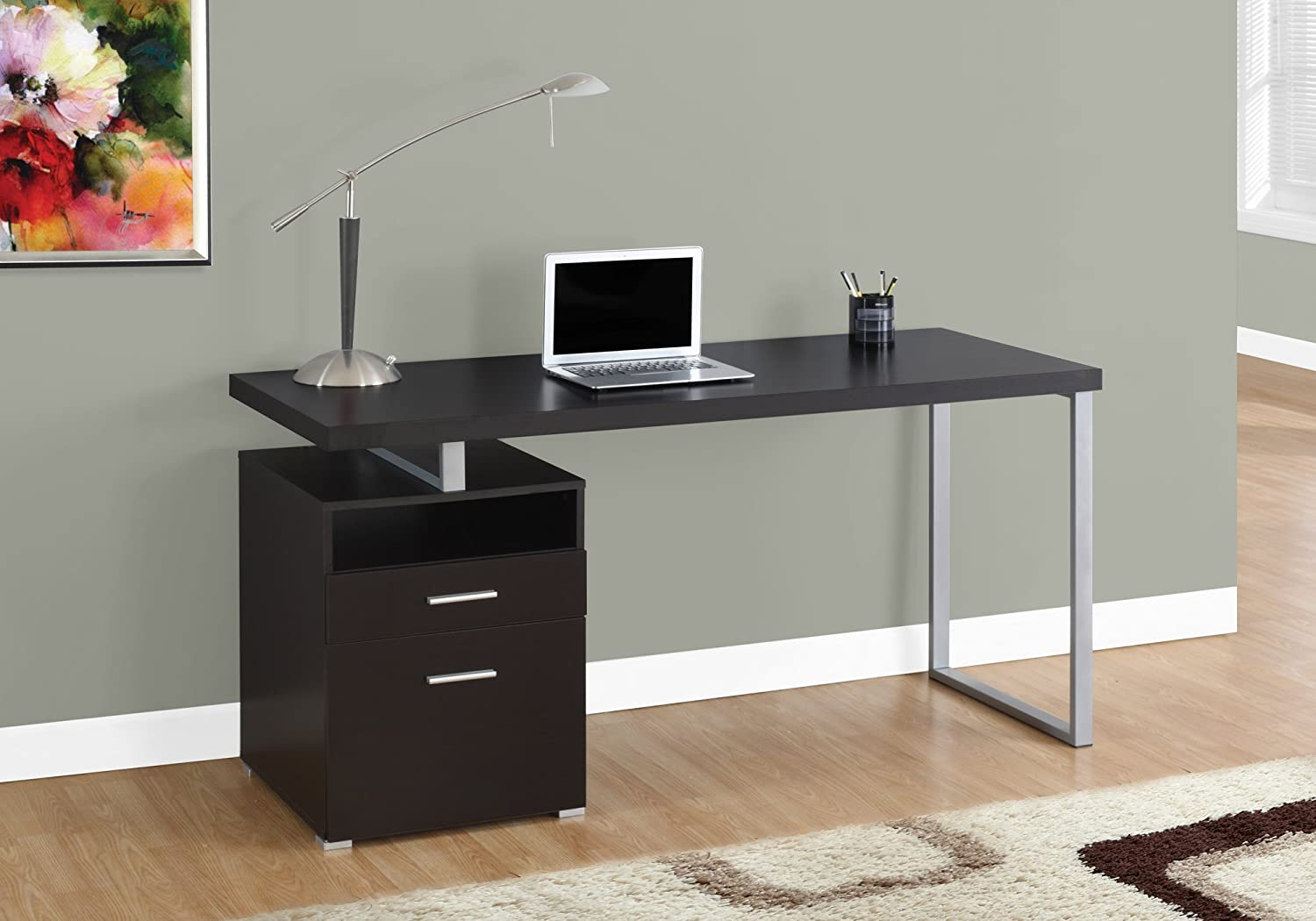 """Monarch Specialties I 7143 I 7145 Computer Writing Desk for Home & Office Laptop Table with Drawers Open Shelf and File Cabinet-Left or Right Set Up, 60"""" L, Cappuccino"""