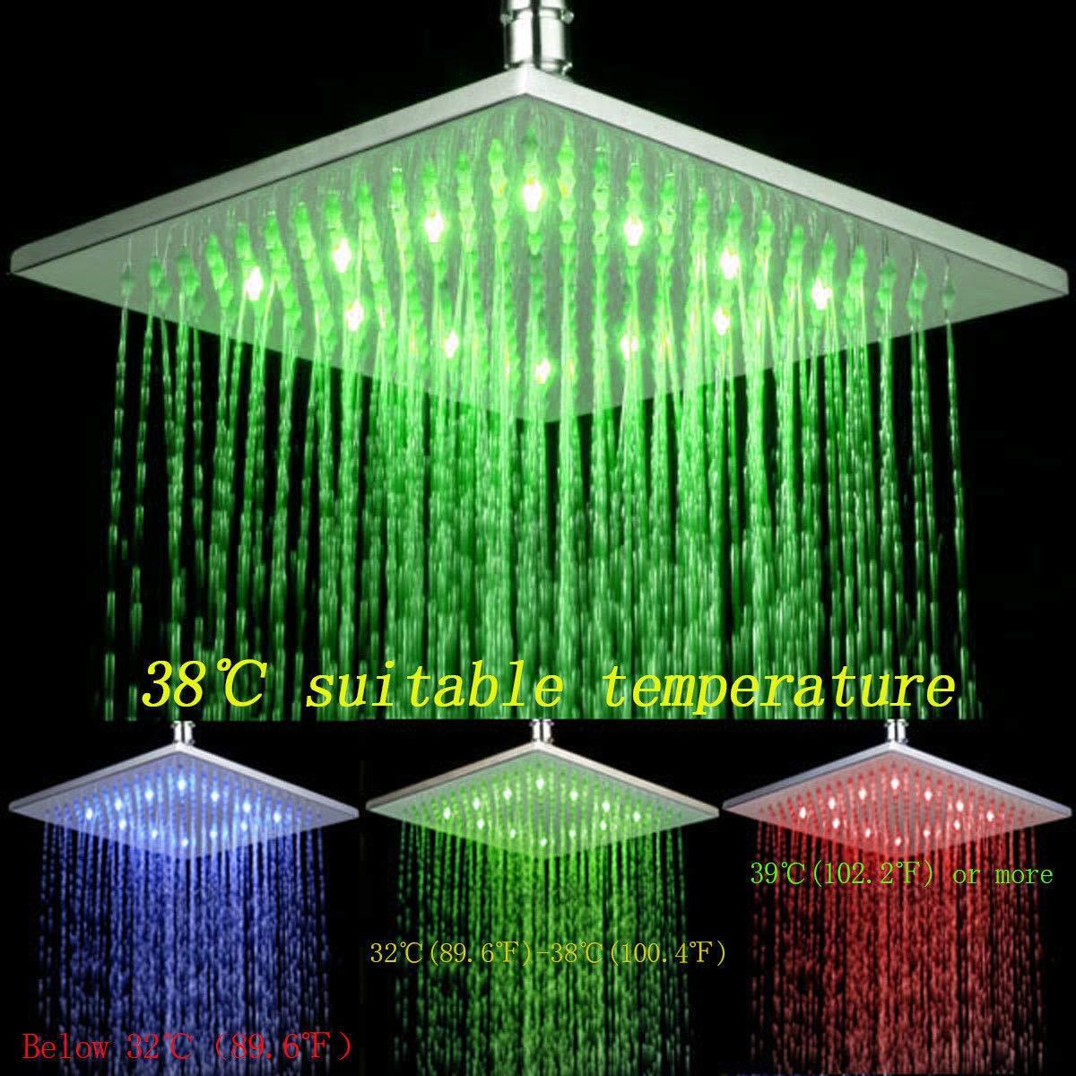 Rozin Soffione doccia a LED quadrato controllo della temperatura 3 colori cangianti in ottone cromato 40 cm x 40 cm montaggio a soffitto o a parete 16 pollici x 16 pollici