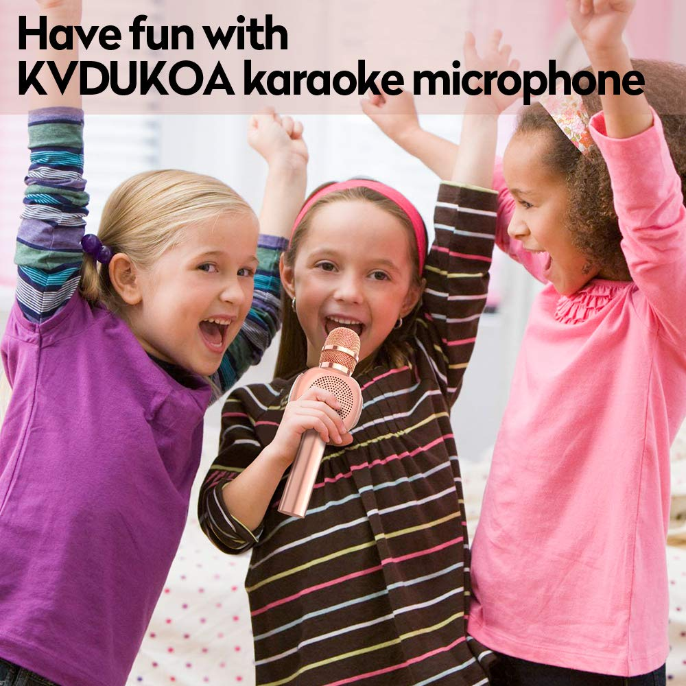 KVDUKOA Karaoke Microphone, Portable Handheld Wireless Bluetooth Karaoke Mic Machine for Home, Party, Birthday Gifts and Kids Girls Toy (Rose Gold) by KVDUKOA (Image #6)