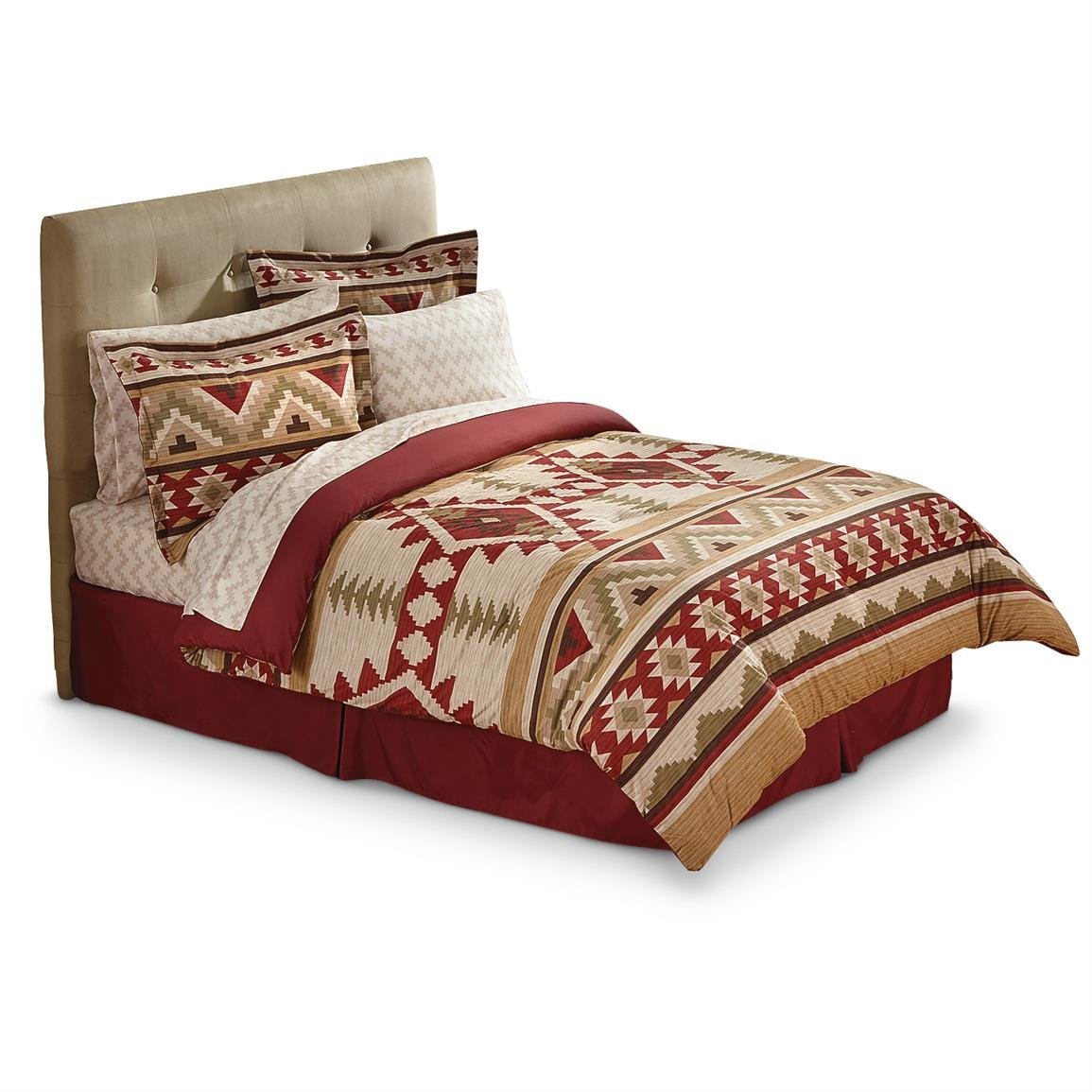 Southwest Red & Tan Native American Queen Comforter, Sheets, Shams & Bed Skirt (8 Piece Bed In A Bag) + HOMEMADE WAX MELT