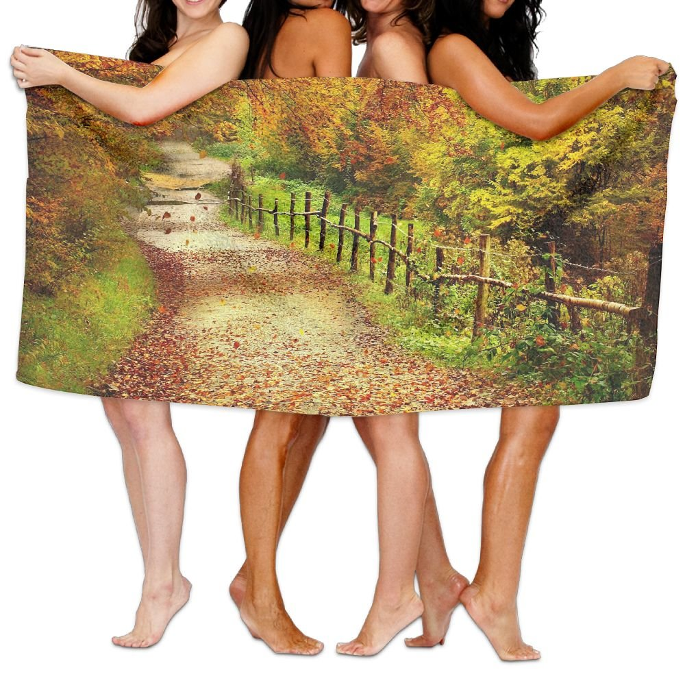 PengMin Autumn Country Road Premium 100% Polyester Large Bath Towel, Pool And Bath Towel (80'' X 130'') Natural, Soft, Quick Drying