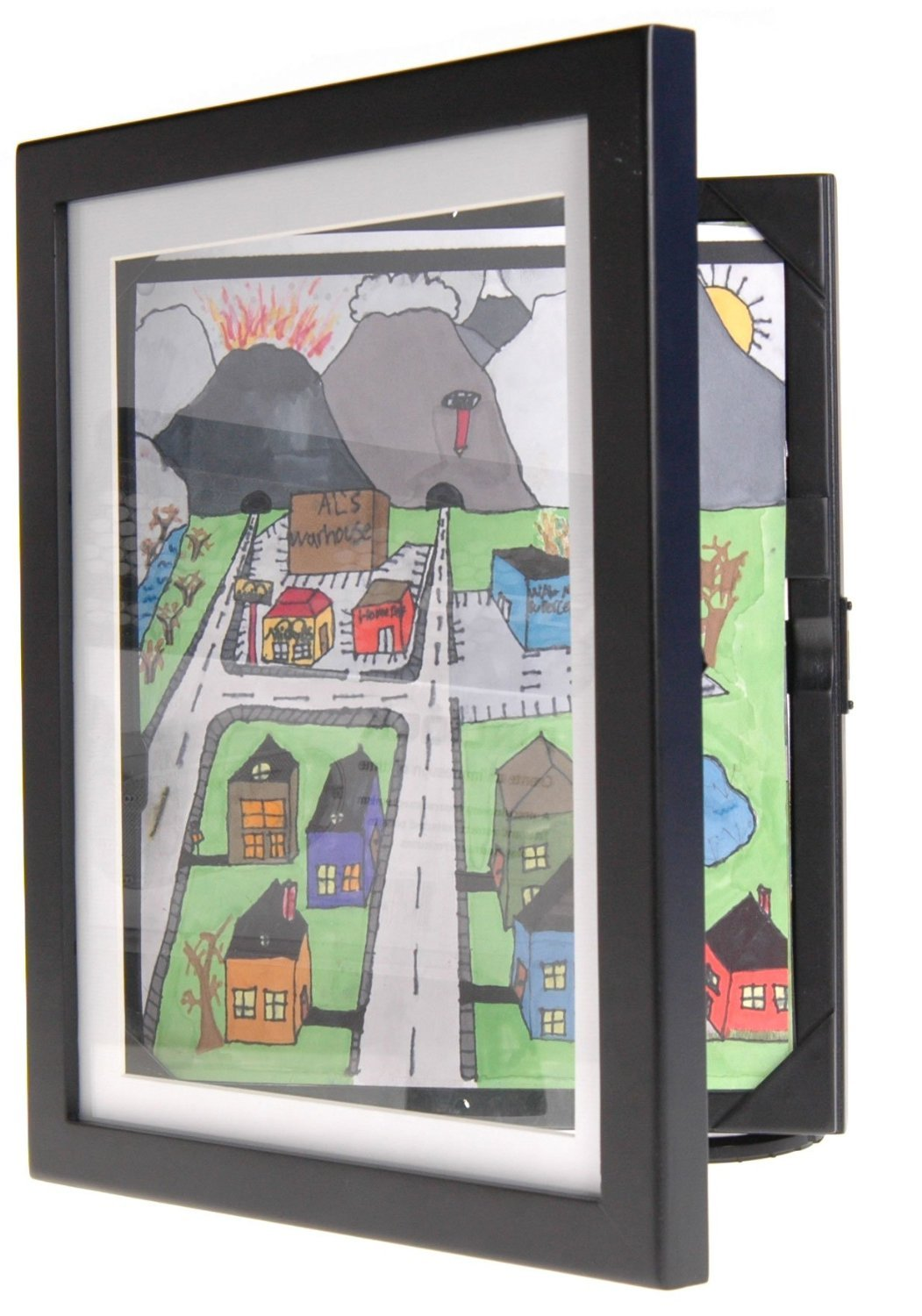 Child Artwork Frame - Display Cabinet Frames And Stores Your Child's Masterpieces - 8.5'' x 11'' (Black)