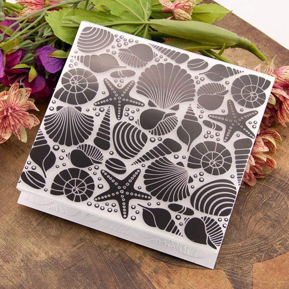 Seashell Sea Star Background Plastic Embossing Folder for Scrapbook DIY Album Card Tool Plastic Template Folders
