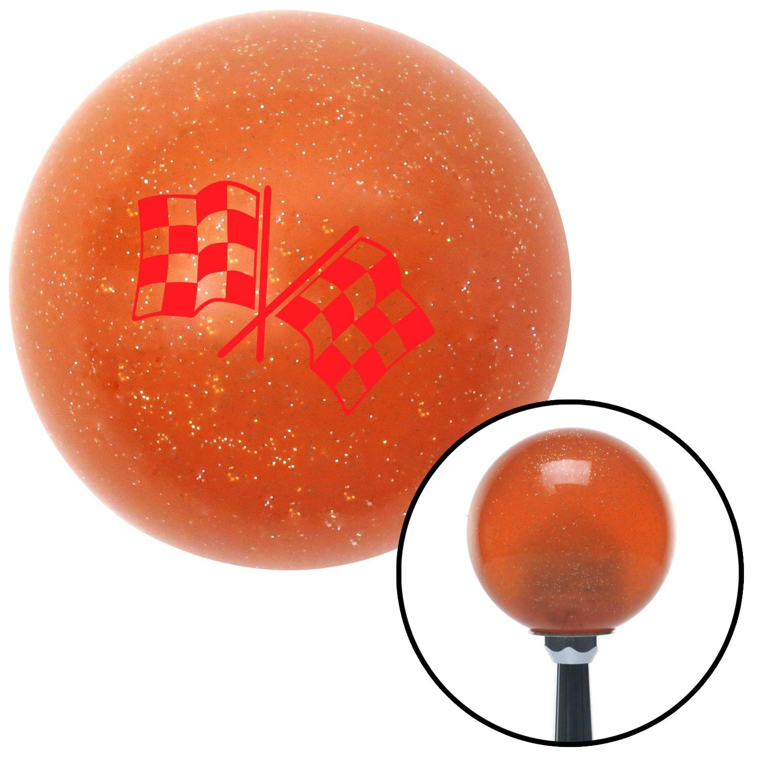 American Shifter 39111 Orange Metal Flake Shift Knob with 16mm x 1.5 Insert Red Checkered Flags