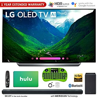"LG C8 OLED 4K HDR AI Smart TV (2018 Model) + LG SK10Y 5.1.2-Channel Hi-Res Audio Soundbar w/Dolby Atmos + Hulu $100 Gift Card + More (77"" OLED77C8)"