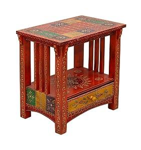 MANGAL MURTI Handicraft Bedside Table (Wooden Finish)
