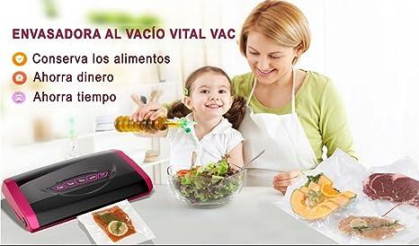 VITAL VAC Envasadora al Vacío Doméstica 5 Funciones 150W, Compartimento para Rollo, Cortador Incorporado, Muy Silenciosa, Presión de Vacío -0,85 Bar, ...