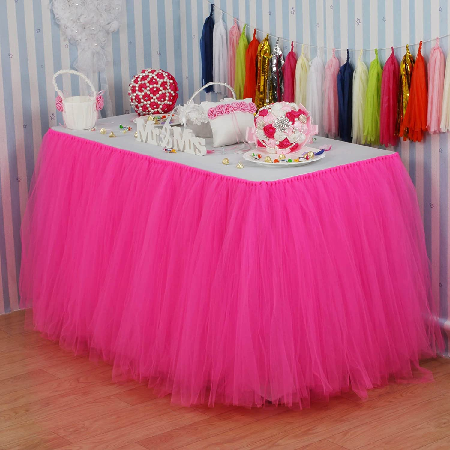 Amazon.com: Vlovelife Hot Pink Tulle Table Skirt Tutu Tableware ...