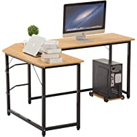 Artist Hand Modern L-Shaped Corner Computer Desk Home Office Solid Wood Desk Study Workstation PC Laptop Gaming Table