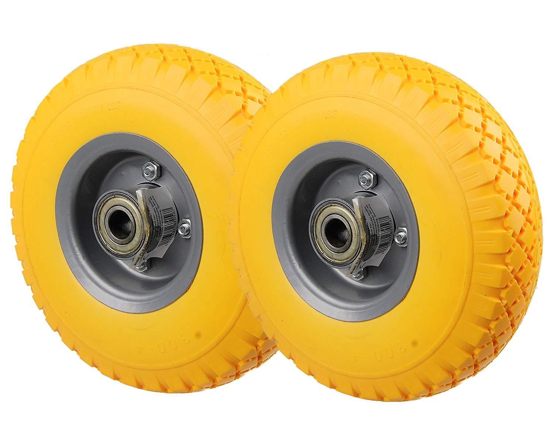 HRB PU Rad 260 mm - Pannensicher je 130 kg Traglast, Metallfelge 3.00-4 (Gelb, 1 Stück)