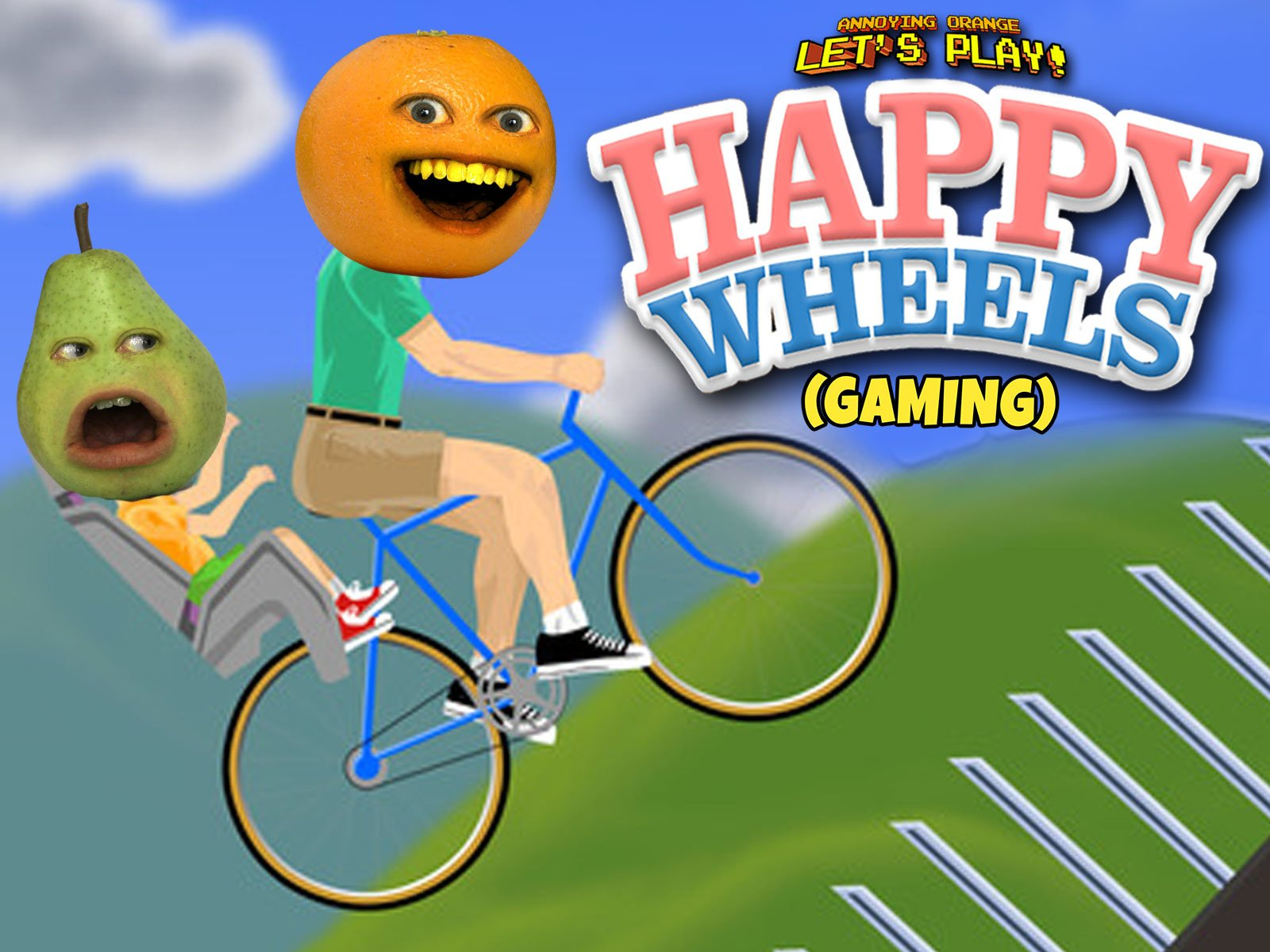 amazon com clip annoying orange let s play happy wheels gaming