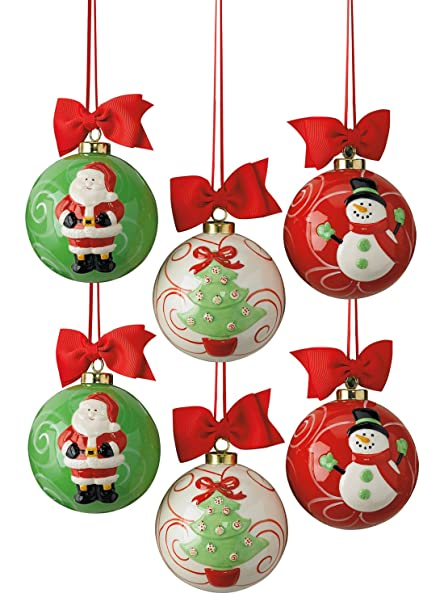 dii santa snowman and christmas tree ceramic christmas ornaments for tree dcor - Ceramic Christmas Ornaments