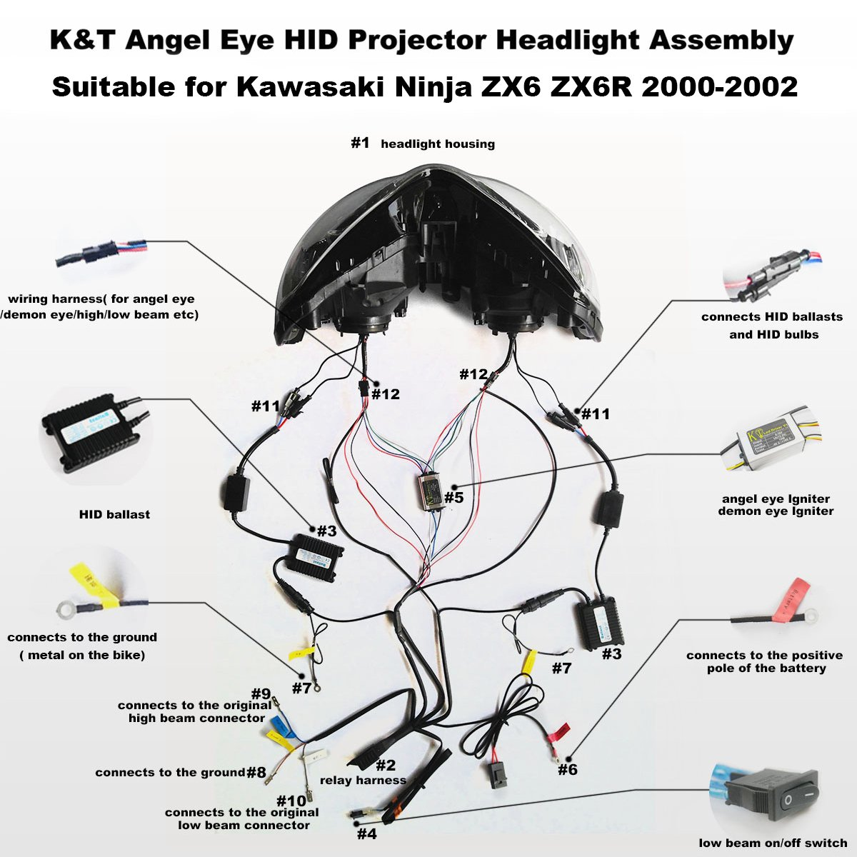 591 amazon.com: kt headlight assembly for kawasaki ninja zx6 ... | wiring  library  wiring library