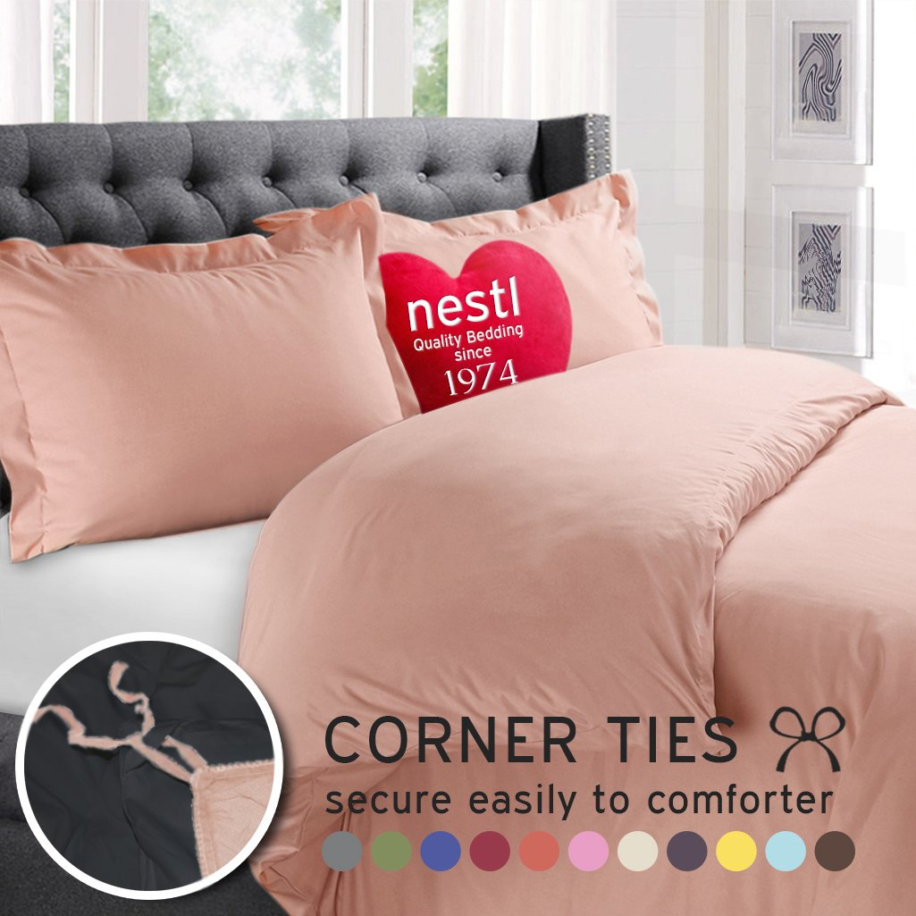 Premium Peach Duvet Cover 3-Piece Set By Nestl Bedding