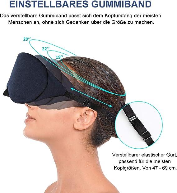 bleu fonc/é ombrage 3D avec /élastique r/églable pour dormir la nuit Masque de sommeil WOTEK 100 /% coton respirant pour homme et femme la sieste et les voyages