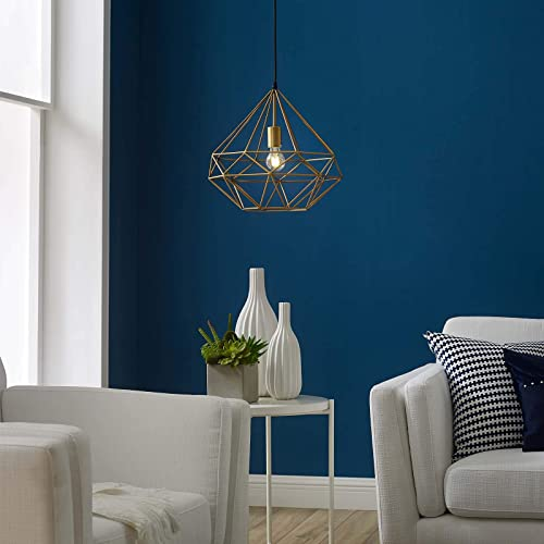Modway Rarity Contemporary Modern Geometric Brass Metal Diamond-Shaped Ceiling Light Pendant Light