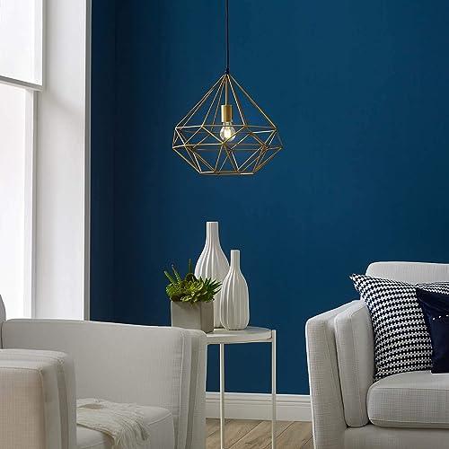 Modway Rarity Contemporary Modern Geometric Brass Metal Diamond-Shaped Ceiling Light Pendant Light