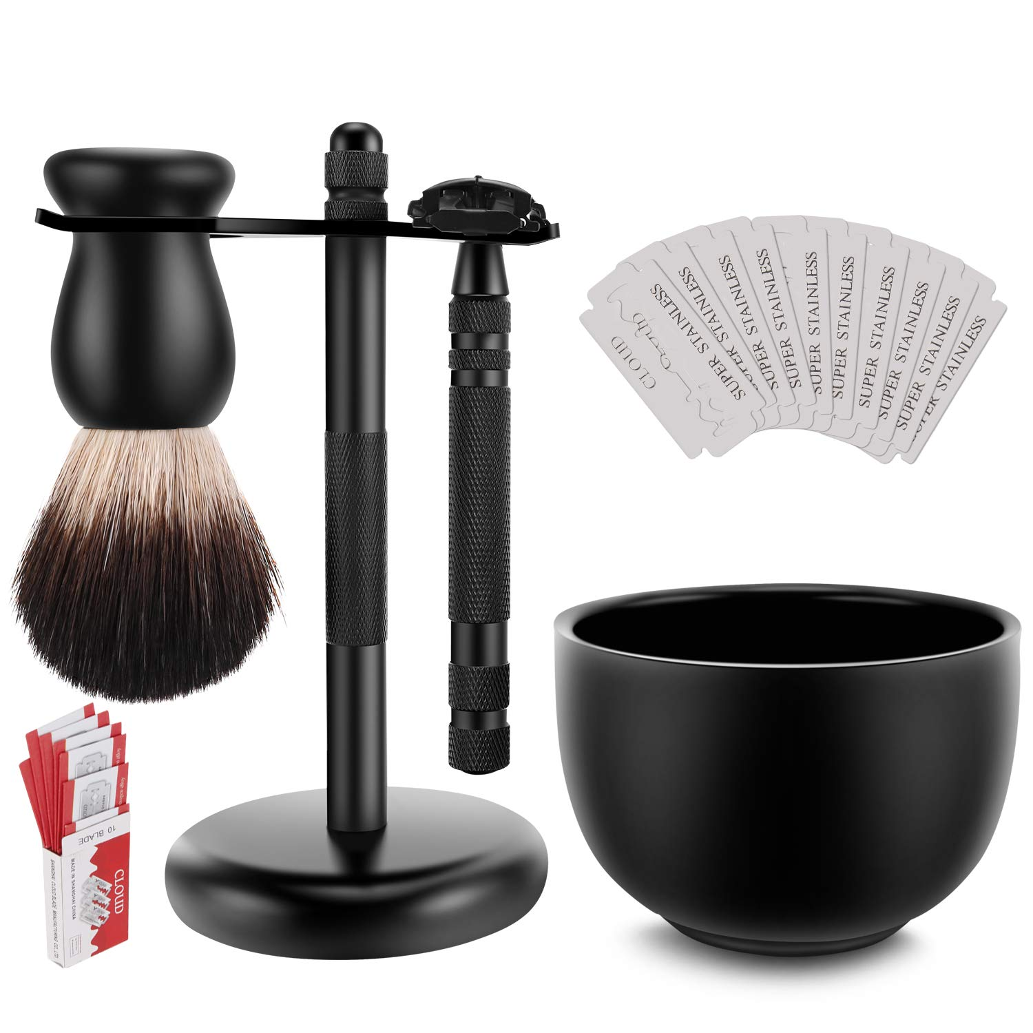 Amazing Safety Razor Shave Kit - Mysterious Black Men's Shaving & Grooming Sets - Butterfly Open Safety Razor,Friendly Brush,Great Shaving Stand,Shaving Soap Bowl, Super Stainless Blades by PerPro