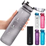 Cactaki 32oz Water Bottle with Time Marker, BPA Free, Non-Toxic, Leakproof, Durable
