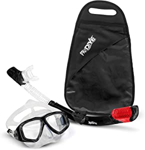 PRODIVE Premium Dry Top Snorkel Set - Impact Resistant Tempered Glass Diving Mask, Watertight and Anti-Fog Lens for Best Vision, Easy Adjustable Strap, Waterproof Gear Bag Included