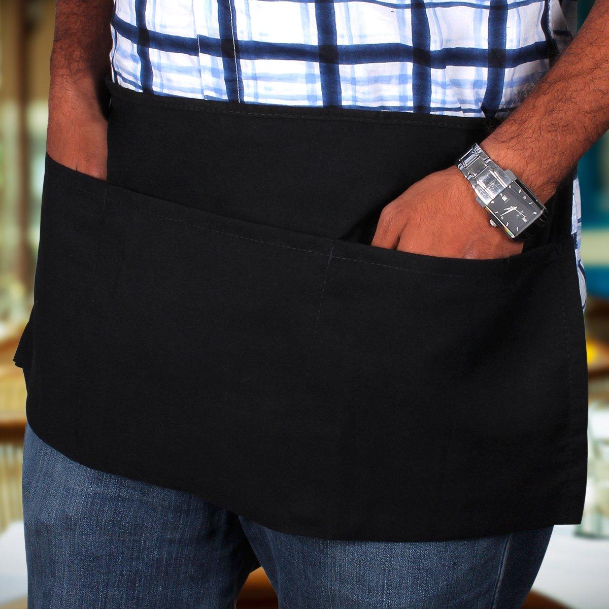 Utopia Kitchen 3 Pockets Waist Apron (Set of 12, Black, 24 x 12 inches) - Restaurant Half Aprons, Bartender Apron, Money Apron, Check Holder by Utopia Kitchen (Image #4)