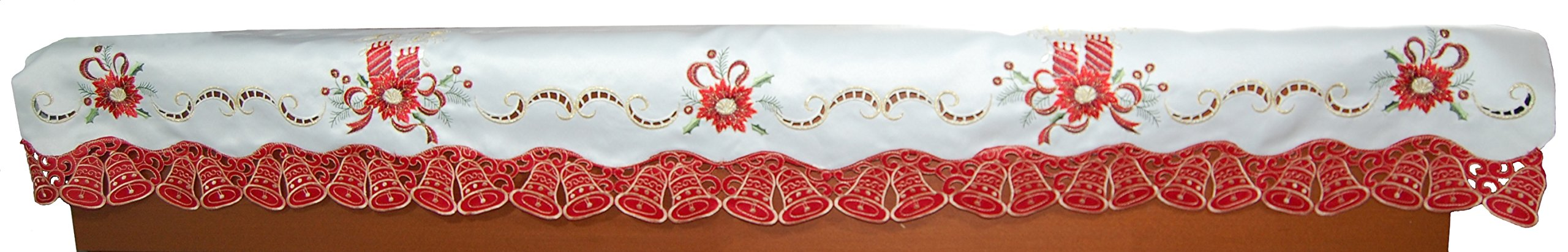 EcoSol Designs Embroidered Christmas Bells (14''x68'', Red White Gold) Fireplace Mantel Scarf/Window Valance