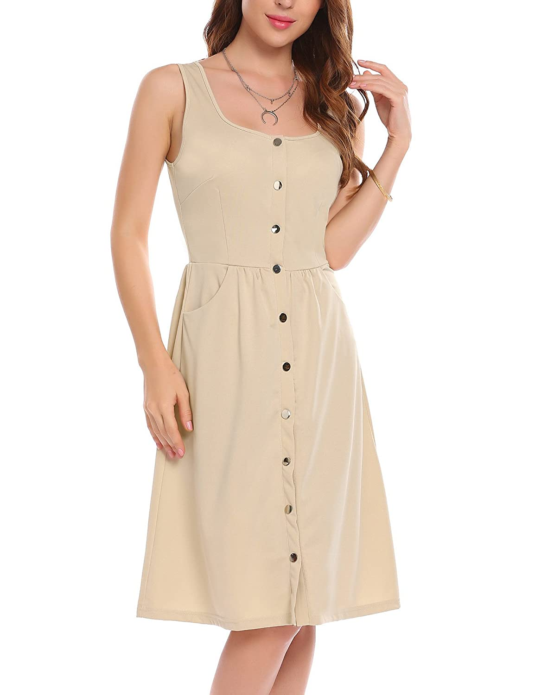 Zeagoo Women Casual Square Collar Sleeveless Pocket Button A-Line Dress