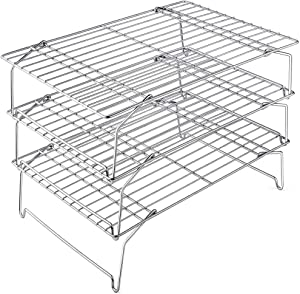 TeamFar Cooling Rack, 3 Tier 15'' × 10'' Oven/Dishwasher Safe Stainless Steel Baking Roasting Rack for Cookies Cake Pies Bread, Collapsible & Foldable, Healthy & Non Toxic