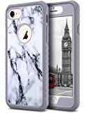 ULAK iPhone 8 & 7 Case Shock-absorbing Flexible Durability TPU Bumper Case, Durable Anti-Slip, Front and Back Hard PC Defensive Protection Cover for Apple iPhone 7 4.7 inch, Artistic Marble Pattern