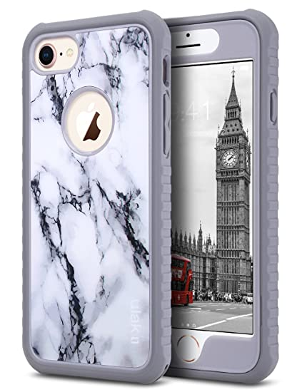 check out 73a21 5dce2 ULAK iPhone 8 & 7 Case, Marble Shock-Absorbing Flexible Durability TPU  Bumper Case, Durable Anti-Slip, Front and Back Hard PC Defensive Protective  ...