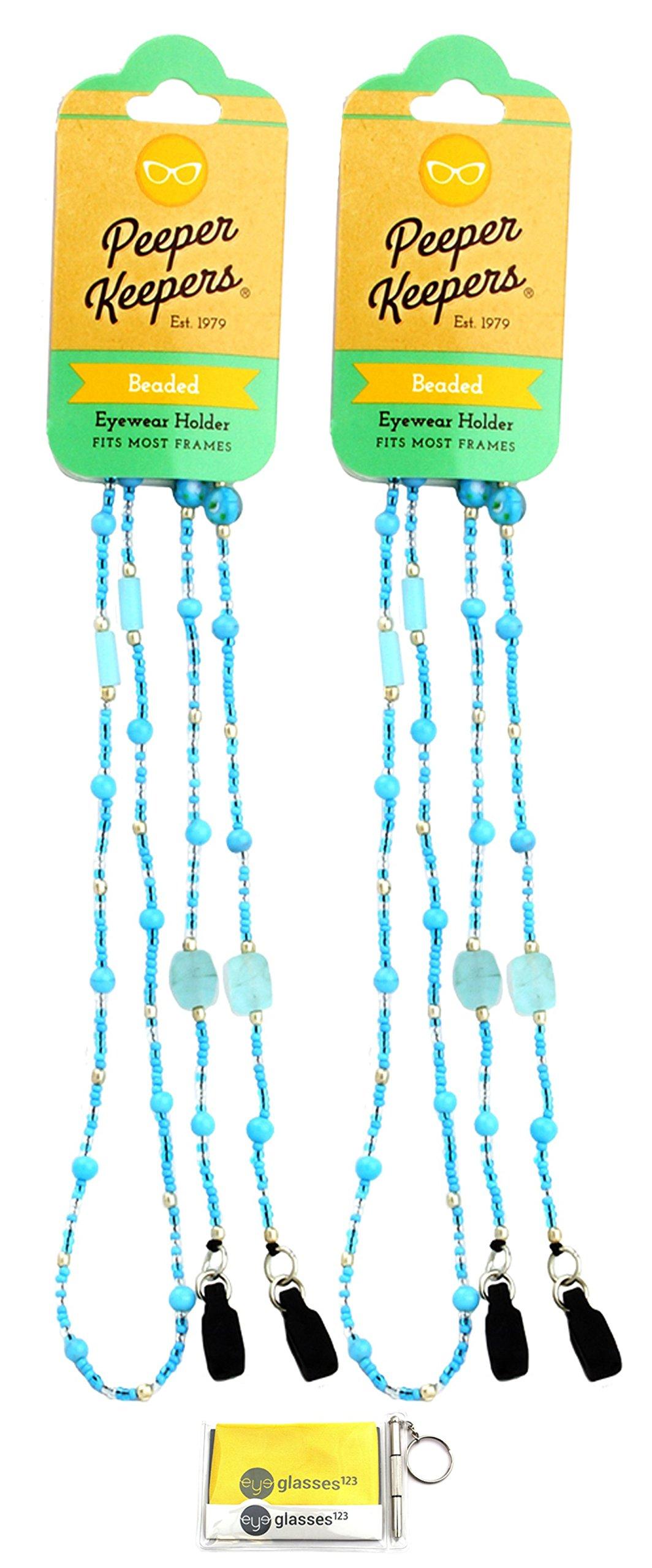 Eyeglass Retainer, Sunglass Chain By Peeper Keepers Glass Beads, Aqua Jewel, 2pk | w/Microfiber Cloth, Screwdriver