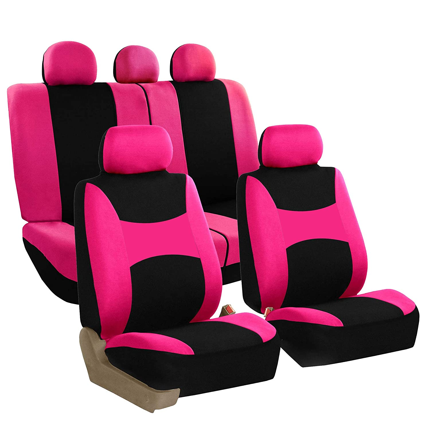 or Van FH Group FB030115-SEAT Light /& Breezy Burgundy//Black Cloth Seat Cover Set Airbag /& Split Ready- Fit Most Car SUV Truck
