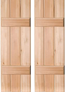 Amazon Com Ekena Millwork Rwb12x026unw Exterior Three Board Real Wood Cedar Board N Batten Shutters Per Pair Unfinished 12 W X 26 H Home Improvement